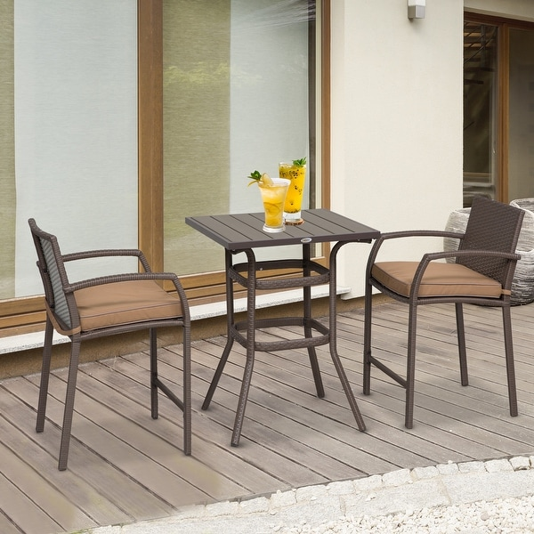 Outsunny 3 Piece Outdoor PE Rattan Wicker Patio Conversation Table Set with 2 Chairs & 1 Center Coffee Table. Opens flyout.