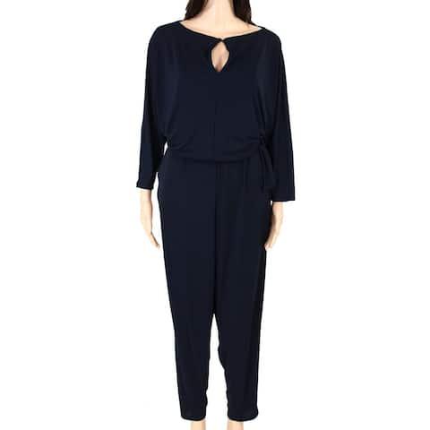 Lauren by Ralph Lauren Womens Jumpsuit Navy Blue Size 3X Plus Keyhole