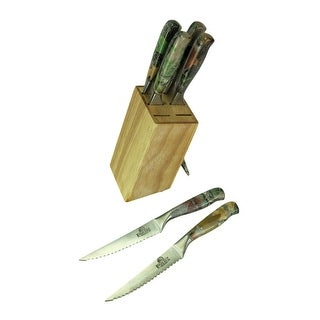 River's Edge Camouflage Handle 6 Piece Steak Knife Set With Wood Block
