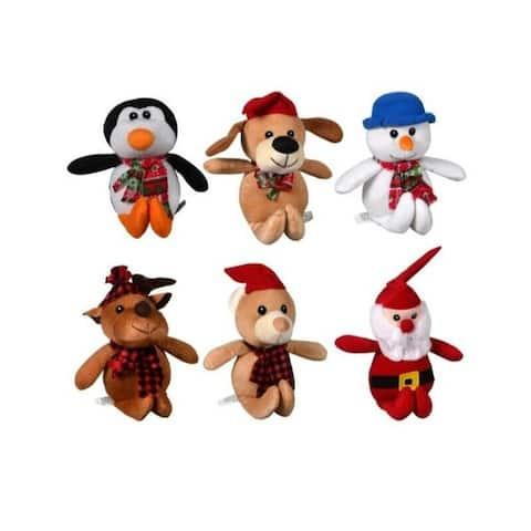 Christmas House Cuddly 9 inch Plush Christmas Friends Reindeer, Santa, Snowmen,Bear, Monkeys, and Penguins