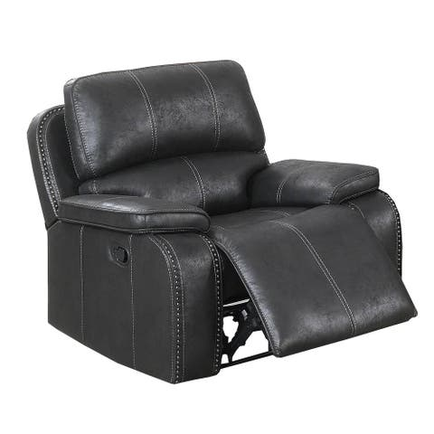 Leatherette Manual Recliner with Stitched Details, Black
