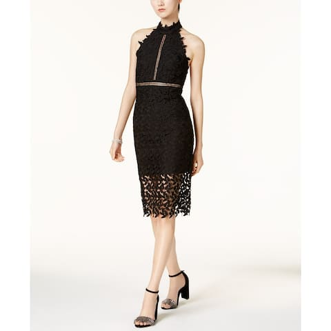 Bardot Women's Lace Illusion Halter Dress Black Size Extra Small