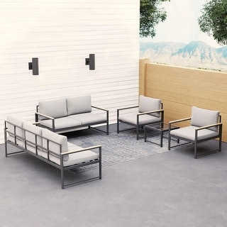 Link to Brookside Meg Outdoor Metal Seating Set with Cushions Similar Items in Patio Furniture