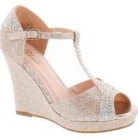 De Blossom Collection Womens Alina-29 Elegant Classic Rhinestones Heel Platform Dress Shoes - nude sparkle