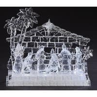 "7.75"" Icy Crystal LED Lighted Holy Family in Stable Christmas Nativity - CLEAR"