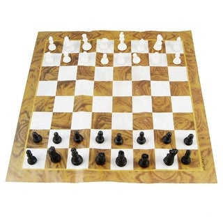 Brown White Paper Plastic Black White International Chess Set w Storage Box