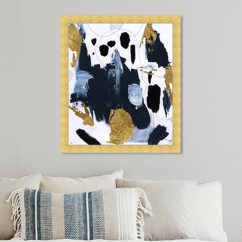 Oliver Gal 'Fugaz' Abstract Wall Art Framed Print Paint - Blue, Gold