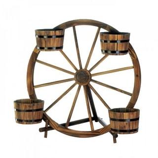 Wagon Wheel Apple Barrel Planters