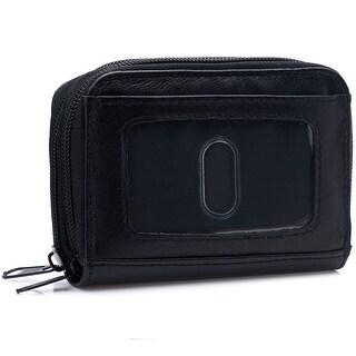 Womens Genuine Leather Zip Around Accordion Organizer Wallet - One Size