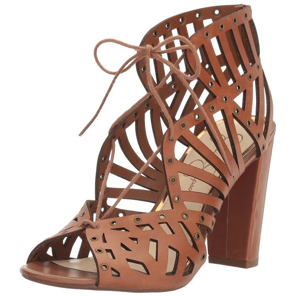 Jessica Simpson Womens Emagine Leather Peep Toe Special Occasion Strappy Sand...