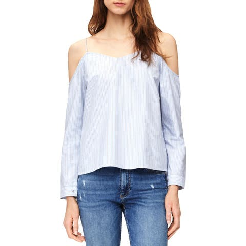 Calvin Klein Jeans Womens Fashion Blouse Striped Cold Shoulder