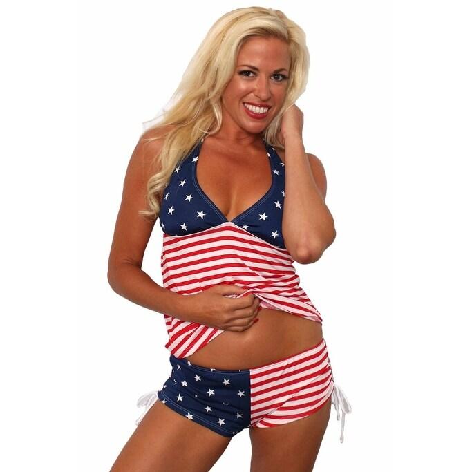 Womens 2-Piece Bathing suit USA Flag BIkini Tankini & String Shorts Beach Swimwear