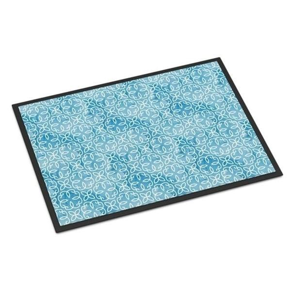 Carolines Treasures BB7555JMAT Watercolor Geometric Cirlce on Blue Indoor or Outdoor Mat 24 x 36 in.