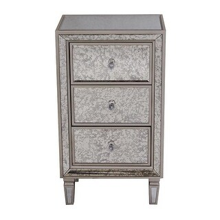 Eleganza 3-Drawer Antiqued Mirror Tall Accent Cabinet - Champagne