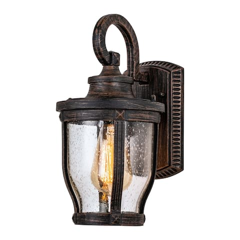 """1-Light Centennial Rusty Finish Outdoor Wall Lantern Sconce with Clear Seeded Glass - W6.5""""xL7.75""""xH11.25"""""""