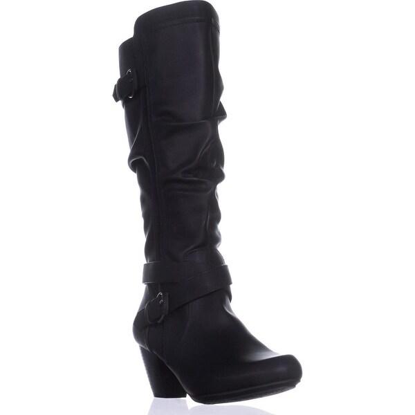 Rialto Crystal Wide Calf Block-Heel Boots, Black
