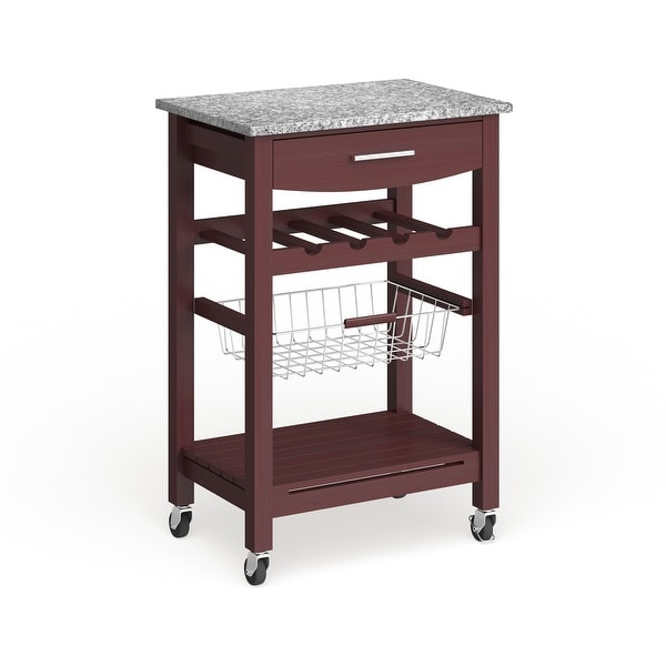 Porch & Den Bigelow Wenge and Granite Top Mobile Kitchen Island with Wine Rack. Opens flyout.