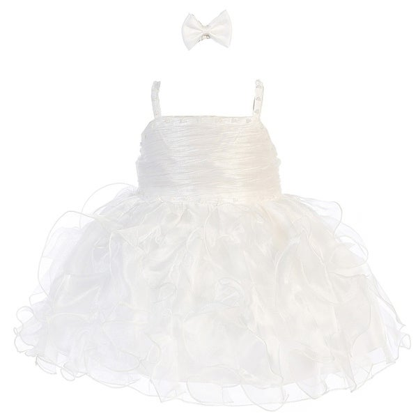 Baby Girls White Organza Ruffle Beaded Tab Strap Flower Girl Dress