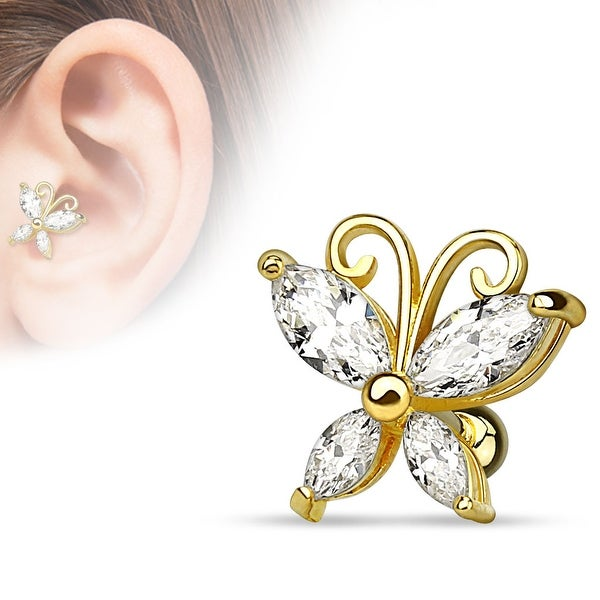 {Clear} Marquise Cut CZ Butterfly gold-plated Over Steel Cartilage/Tragus Bar (Sold Individual