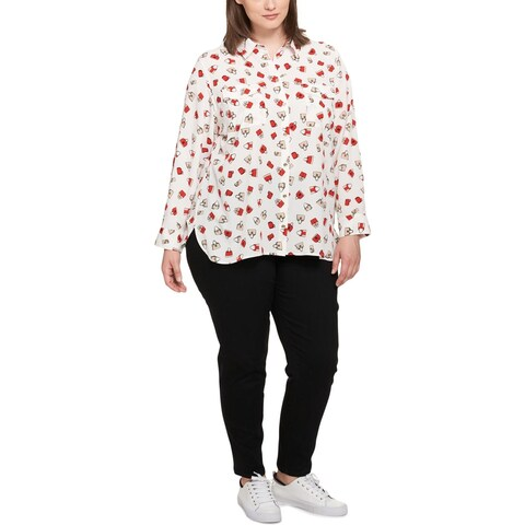 Tommy Hilfiger Womens Plus Button-Down Top Printed Long Sleeve