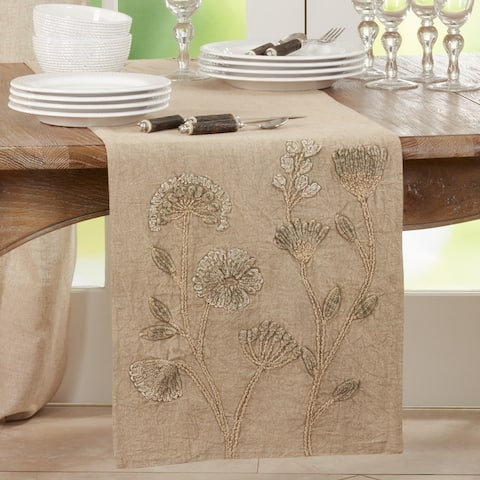 Stone Washed Table Runner With Floral Design