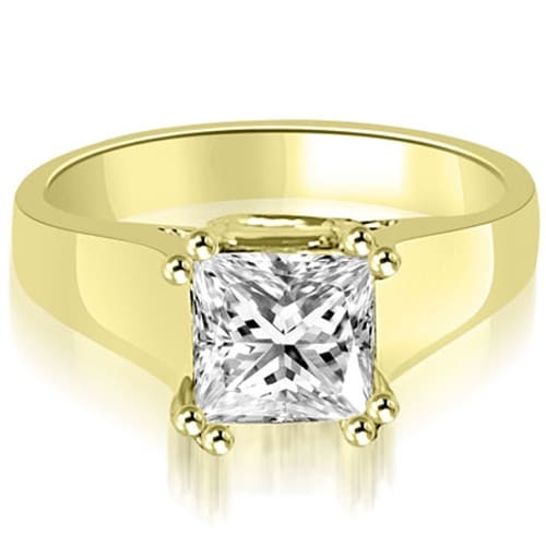 0.75 cttw. 14K Yellow Gold Dual Prong Solitaire Princess Diamond Engagement Ring
