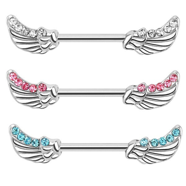 Angels Wings with Lined CZs 316L Surgical Steel Nipple Bar (Sold Individually)