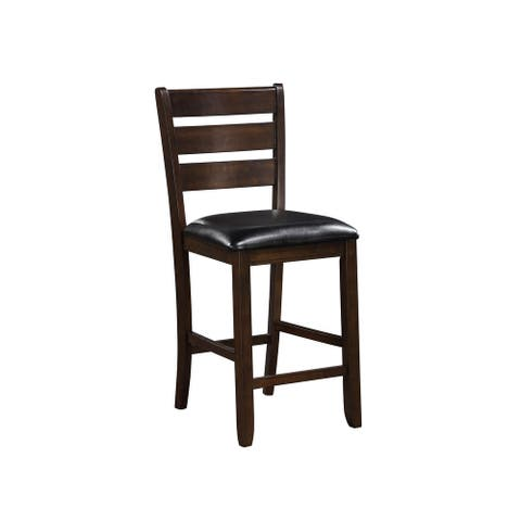 Ladder Back Counter Height Chairs with Leatherette Seat, Set of 2, Brown - 41 H x 21.2 W x 19.5 L Inches