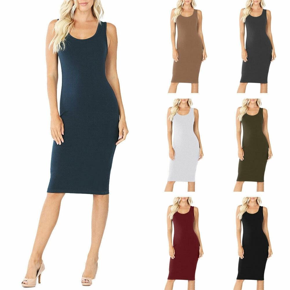 NioBe Clothing Womens Sleeveless Cotton Bodycon Tank Knee Length Midi Dress by  2020 Online