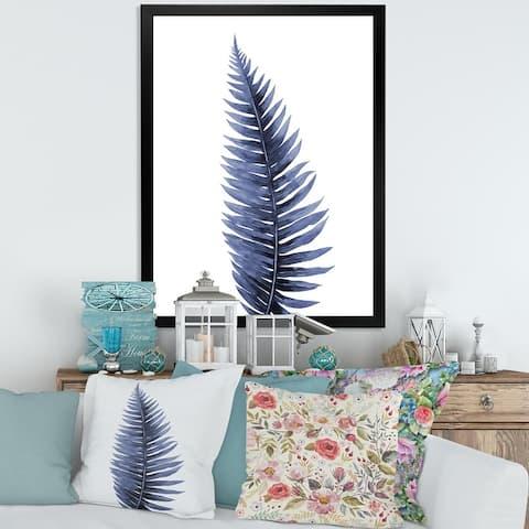 Designart 'Tropical Blue Watercolour Leaves II' Bohemian & Eclectic Framed Art Print