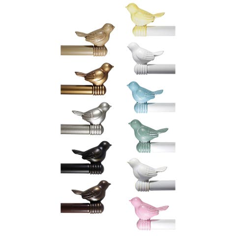 "Cute Bird Curtain Rod Decorative Adjustable Designer Rod, 3/4"" Diameter"