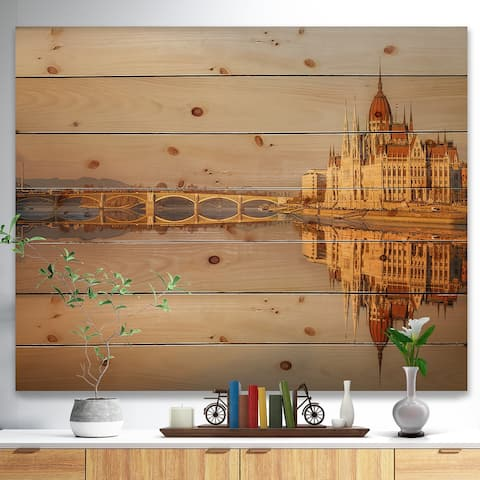 Designart 'Hungarian Parliament Panorama' Cityscape Print on Natural Pine Wood - Multi-color