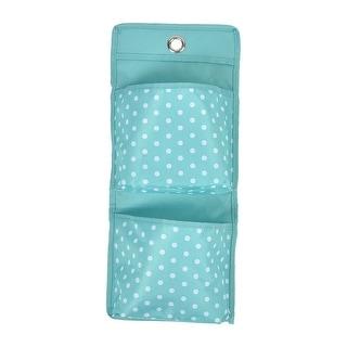 2 Pockets Nylon Dots Pattern Wall Door Hanging Organizer Pouch Storage Bag Cyan