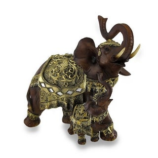 Exotic Wood Look Trumpeting Mother and Calf Thai Elephant Statue - 9.75 X 10 X 5 inches