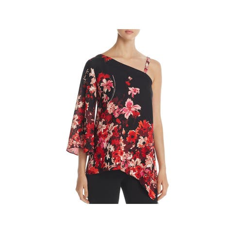 Status by Chenault Womens Blouse One Shoulder Floral Print