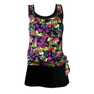 Blouson Tankini Top with Black Skirt in Bright Multi Floral Print (Option: 20w)
