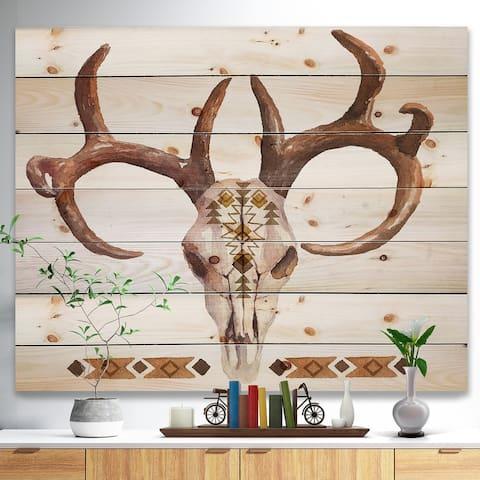 Designart 'Real Deer Antler Sketch' Farmhouse Animal Print on Natural Pine Wood - White