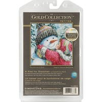 """Gold Petite A Kiss For Snowman Counted Cross Stitch Kit-6""""X6"""" 18 Count"""