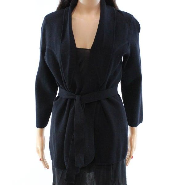 c28d90648b8 Shop Alfani NEW Black Knit Piped Belted Women s Size Medium M Jacket ...
