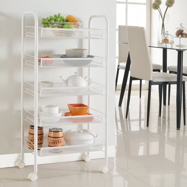 Shop Langria 5 Tier Metal Mesh Utility Rolling Cart For Kitchen