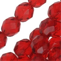 Czech Fire Polished Glass Beads 8mm Round Ruby Siam Red (25)