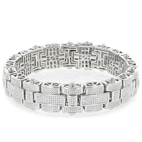 Mens Round Diamond Bracelet 3.25ctw in Sterling Silver by Luxurman