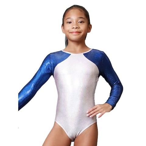 Girls Pearl Pink Blue Libra Mystique Gymnastics Long Sleeve Leotard 8