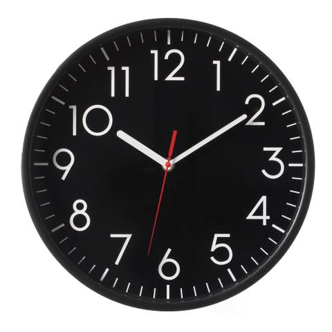 Classic Plastic Home Decor Wall Clock Living Room, Black Face with White Numbers