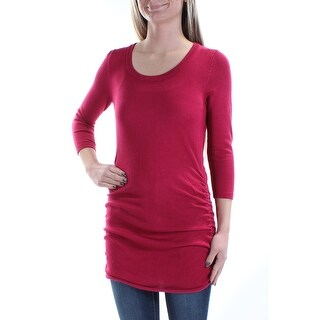 Womens Red 3/4 Sleeve Scoop Neck Tunic Sweater Size XS