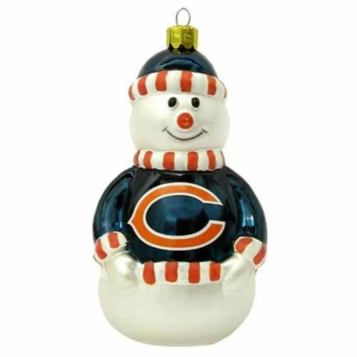 Chicago Bears Blown Glass Snowman Christmas Tree Ornament