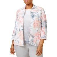 Alfred Dunner Womens Plus Jacket Floral Print 3/4 Sleeves