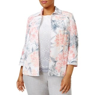 Alfred Dunner Womens Plus Jacket Floral Print 3/4 Sleeves
