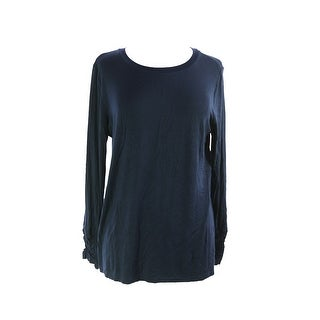 Alfani Navy Long-Sleeve Ruched Top XL