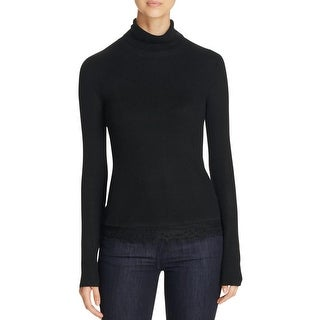 T Tahari Womens Padma Turtleneck Sweater Long Sleeves Lace Trim